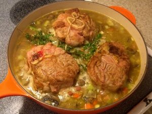 Osso buco just before going into the oven.