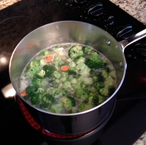 The broccoli and other veggies simmering in chicken stock.