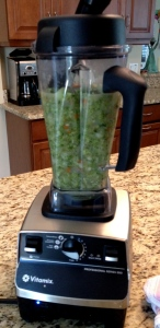 The soup can be blended with an immersion blender or a regular blender/Vitamix. Just be careful!