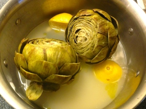 Artichokes near the end of the steaming process.