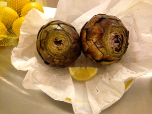 Roasted artichokes make me smile!