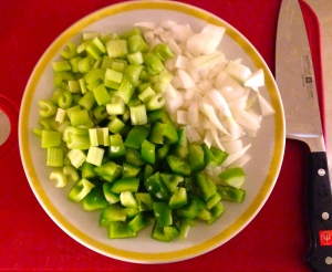 The 'Holy Trinity' of bell pepper, onion, and celery.