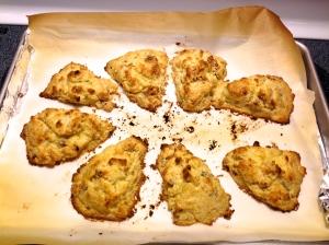 Apricot-ginger scones after baking.