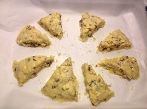 My first batch of apricot-ginger scones prior to going into the oven.