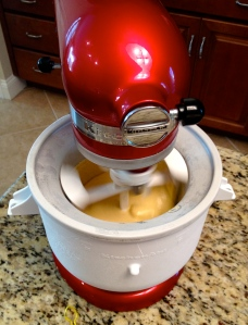 The Kitchen Aid ice cream attachment really simplifies the churning process.
